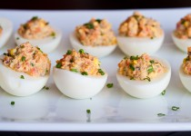 Salmon Deviled Eggs w/ Horseradish Garlic Potato Seasoning