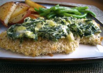 Chicken Pieces with Brown Butter and Spinach Sauce with Garlic – Diced Garlic Scapes