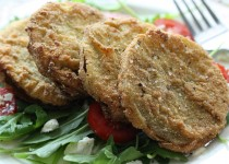 Emily's Fried Green Summer Tomato Salad w/ Chili-Lime Chicken Splash