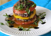Stacked Tomato Salad with Olive Tapenade and Balsamic Dressing – Garlic Veggie/Salad Splash