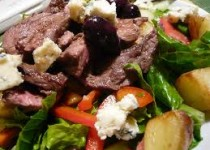 Steak Salad with Apple Cider & Garlic Vinaigrette & Boursin Cheese