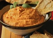 Roasted Red Pepper & White Bean Dip with Toasted Pitas