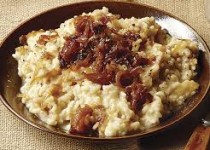 Garlic Mashed Potatoes with Caramelized Onions & Goat Cheese