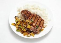 Pork Chops with Pineapple Salsa & Fresh Garlic Scapes