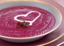 """Souper"" Beet & Garlic Soup with Maple Infused Sweet Cream"