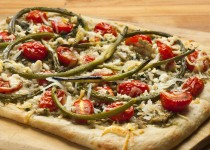Garlic Scape Pizza with Feta