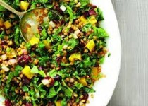 Wheat-Berry, Kale & Craberry Salad with Smoked Garlic