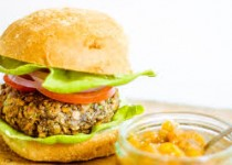 Smokey Garlic Bean Burgers – Peach Salsa with Ontario Garlic