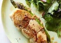 Stuffed Chicken with Asparagus and Garlic & Mango Dressing