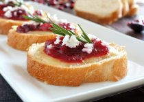 Crostini with Cranberry Garlic Rum Preserve & Brie