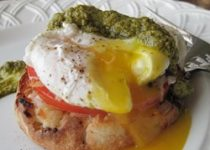 Poached Eggs with Garlic Scape and Kale Pesto