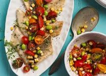 Grilled Perch with Smokey Garlic Charred Corn and Tomato Salad