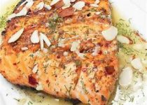 Lemon Dill Salmon with Garlic, White Wine and Butter Sauce