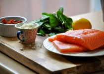 Dilly Salmon Fillets w/ Garlic & Dill Dressing