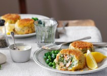 Fish Cakes with Green Peas and Horseradish – Garlic Relish with Scapes