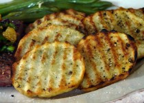 Thick Cut Grilled Garlic Potatoes – Roasted Garlic & Sea Salt
