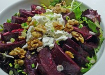 Beets & Spring Greens with Dates and Horseradish Garlic Condiment