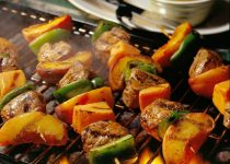 Smoked Tenderlion Kebabs w Peaches and Peppers
