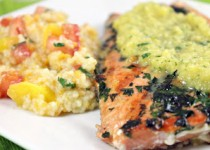 Garlic Mango Salmon with Couscous – Garlic & Mango Dressing