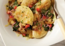 Perogies with Fresh Vegetables and Roasted Garlic Sunflower Oil