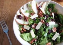 Apple & Cherry Fall Salad with Apple Cider & Garlic Vinaigrette