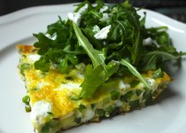 Green Pea Frittata with Spring Garlic Greens