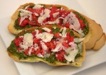Roasted Garlic Pesto on Bruschetta