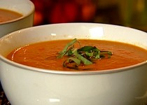 Roasted Garlic and Tomato Soup with Sage & Garlic Crisps