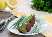 Grilled Steak with Garlic Scape, Goat Cheese Topping & Garlic Steak Splash