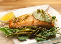 Baked Salmon with Garlic Scape Tartar Sauce