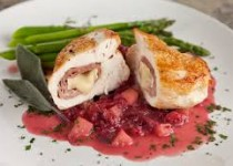 Crusted Stuffed Chicken with Prosciutto, Cranberries and Brie