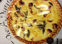 Caramelized Garlic, Spinach,and Cheddar Tart