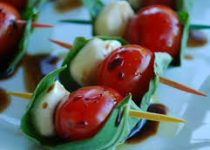 Caprese on a Stick with Garlic Veggie Splash