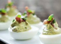 Green Garlic Pesto Deviled Eggs w/ Bacon