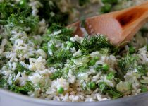Garlic & Dill Rice Salad with Peas