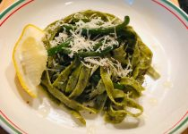 Basil Fettuccine with Steamed Scapes