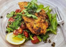 Garlic Braised Tomato Salad with Crusted Chicken Scallopini