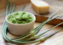 Spinach and Garlic Scape Pesto